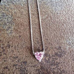 Colar Mini Ponto Luz Prata925 Coração Rosa