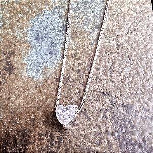 Colar Mini Ponto Luz Prata925 Coração Cristal
