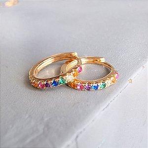 Brinco Argolinha Gold Sob Prata925 Rainbow
