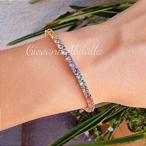 Pulseira Riviera Rainbow 4garras Gold
