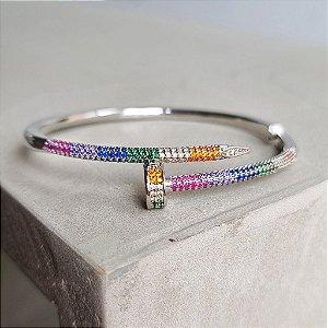 Pulseira Nail Rainbow banho prata