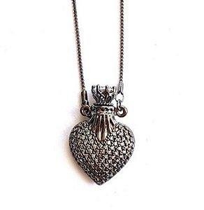 Colar Coração Perfumeiro Midi Rodio Negro