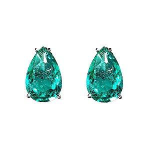 Brinco Gota Esmeralda Verde Água Fusion