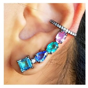 Brinco Earcuff Colors Rodio Negro