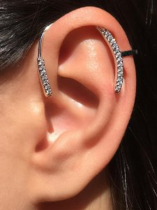 Piercing Earhook Cravejado Silver
