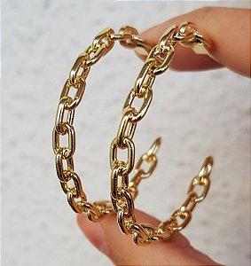 Brinco Argola Média Chain Gold Mistic