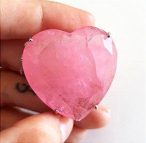Colar Coração Gran Quartzo Rosa Fusion Premium