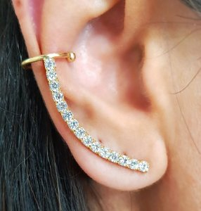 Brinco Earcuff Arco Diamond Gold