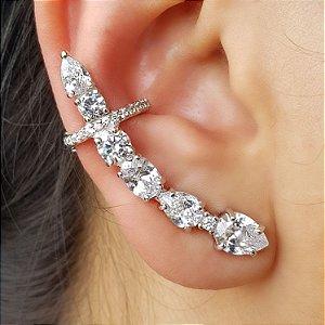 Brinco Earcuff Diamond Gotas x Bools Silver
