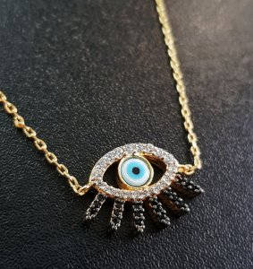 Colar Olho Grego Cílios Cravejados Gold