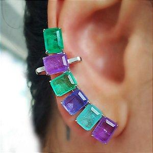 Brinco Earcuff Fusion Colors Quadradas