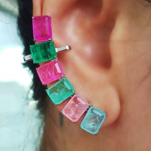 Brinco Earcuff Fusion Colors Fan Quadradas