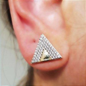 Brinco Triângulo Cravejado com Ouro