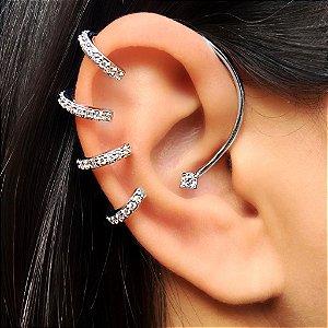 Piercing Earhook 4 elos Cravejados de encaixe Silver