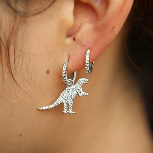Brinco dinossauro silver