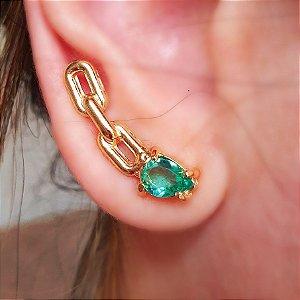 Brinco Earcuff Chain Esmeralda Gold