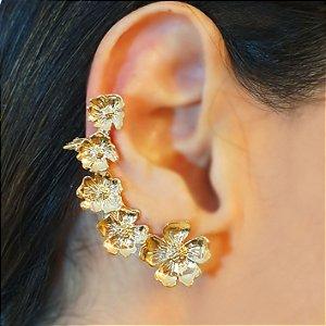 Brinco Earcuff Flores Gold