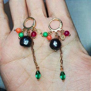 Brinco Pérola barroca negra e cristais coloridos Mikonos