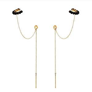 Brinco Piercing Onix x pêndulo gold Mikonos