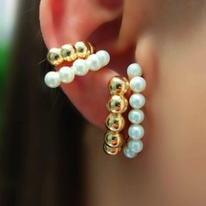 Brinco Earhook Balls Fat Gold Mikonos