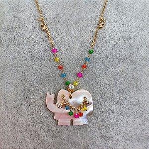 Colar Elefante Madre pérola Rose com Safiras coloridas Mikonos