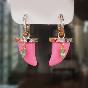 Brinco Argolinha Dentes Rosa Colors Mikonos