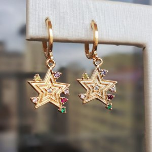 Brinco Star Colors Gold Mikonos
