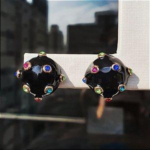 Brinco Balls Esmaltado Onix Colors Pequena Mikonos