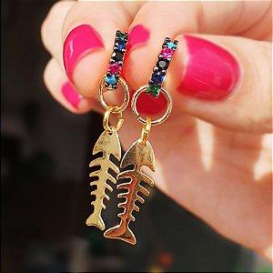 Brinco Mini Argolinha com Mini Fish Escama