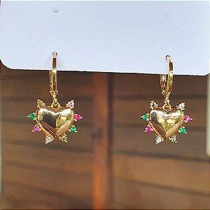 Brinco Coração Colors Gold Mikonos