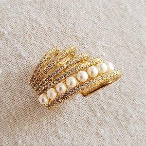 Brinco Piercing Earhook médio cravejado x pérola gold