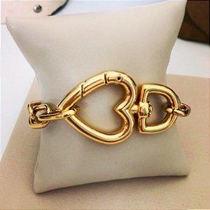 Pulseira mosquetão coração Gold Mistic