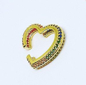 Piercing Coração total cravejado Colors Gold Mistic