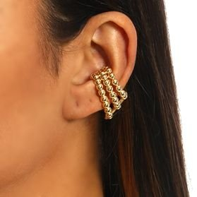 Piercing Earhook Três fileiras Balls gold