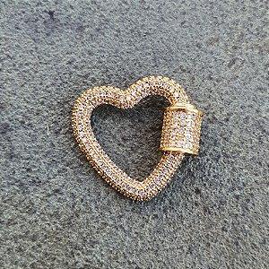 Pingente Mosquetão Coração 360° Cravejado Gold Mistic