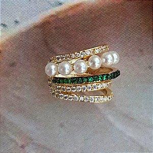 Piercing Cravejado Esmeralda X Pérola Gold