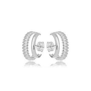 Brinco Earhook Dupla Texturas Silver Mistic