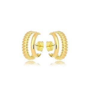 Brinco Earhook Dupla Texturas Gold Mistic