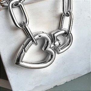 Pulseira mosquetão coração Silver Mistic
