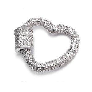 Pingente Mosquetão Coração 360° Cravejado Silver Mistic