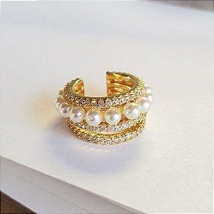 Piercing Cravejado x pérola gold
