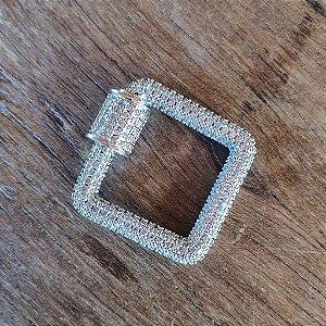 Pingente Mosquetão Quadrado 360° Cravejado Silver Mistic