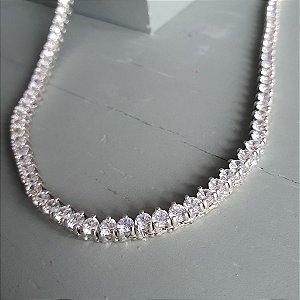 Colar Riviera Banho prata925- 45cm 3pontas