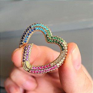 Pingente Mosquetão Coração 360° Cravejado Rainbow Mistic