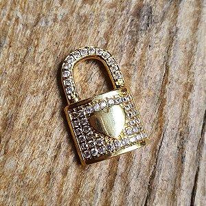 Pingente Cadeado Cravejado Gold