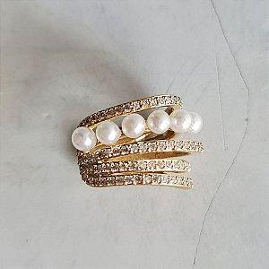 Piercing Cravejado Pérola Gold