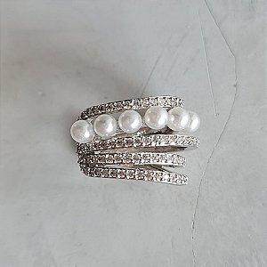 Piercing Cravejado Pérola Silver