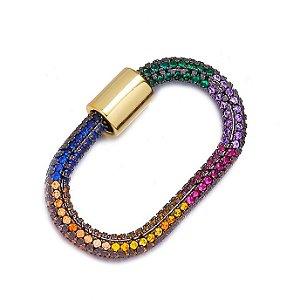 Pingente Mosquetão Rainbow 360° Cravejado Gold Mistic