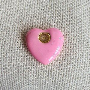 Pingente Coração Esmaltado Rosa