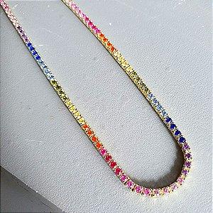 Colar Riviera Rainbow Gold PRATA925 45cm 4garras